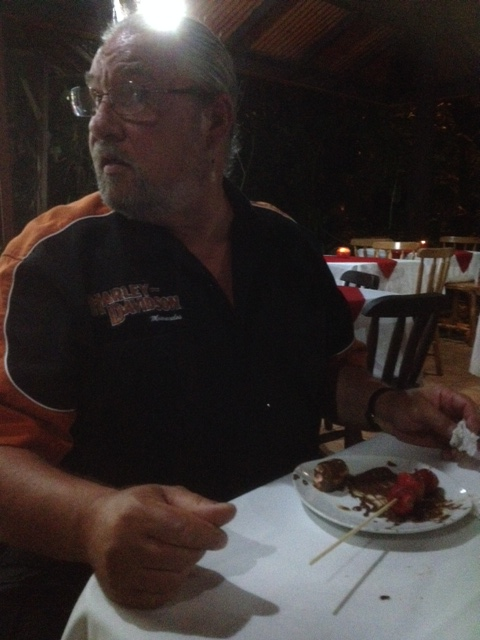 "Mike thought if he didn't look at the plate of skewers, he wouldn't be eating them.....but I can assure you he's ""busted""."